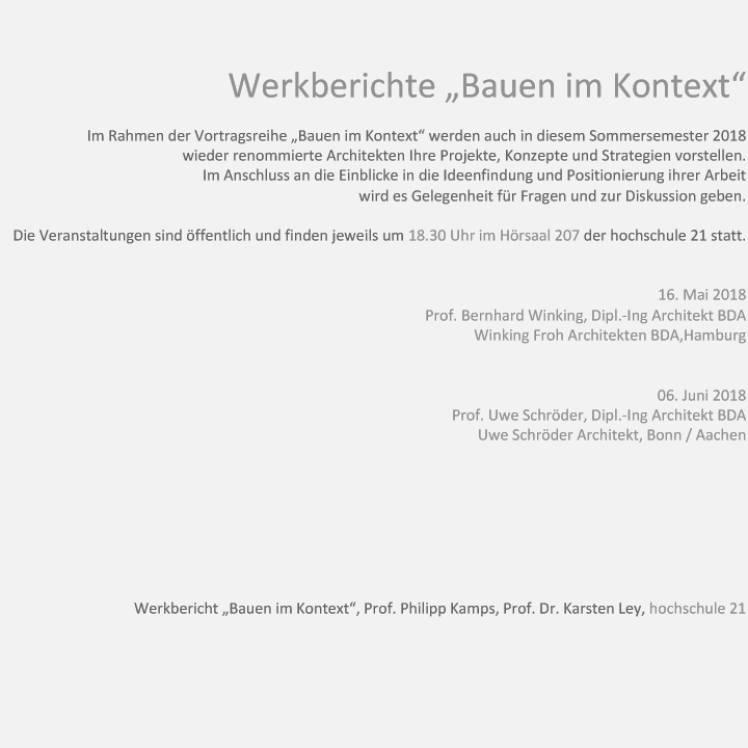 Mai 2018 - Werkberichte an der Hochschule 21
