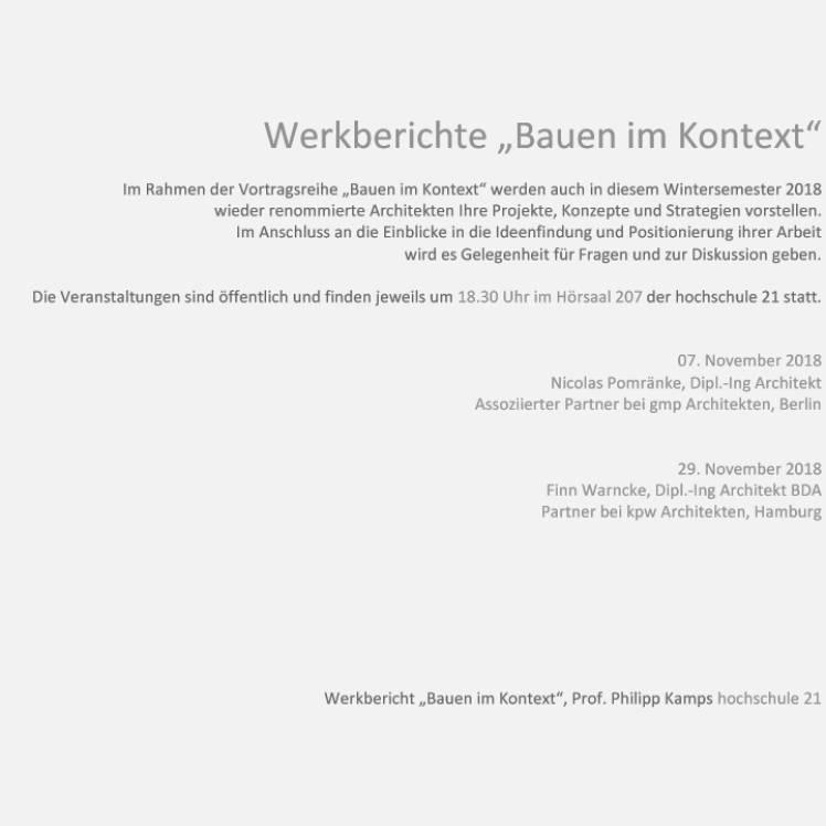 November 2018 - Werkberichte an der Hochschule 21