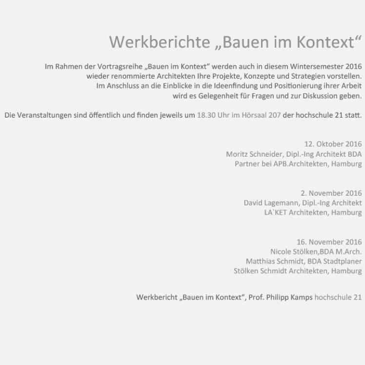 Oktober 2016 - Werkberichte an der Hochschule 21