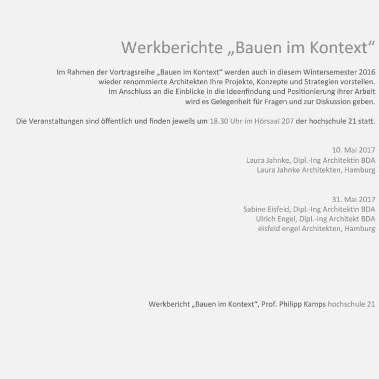 Mai 2017 - Werkberichte an der Hochschule 21